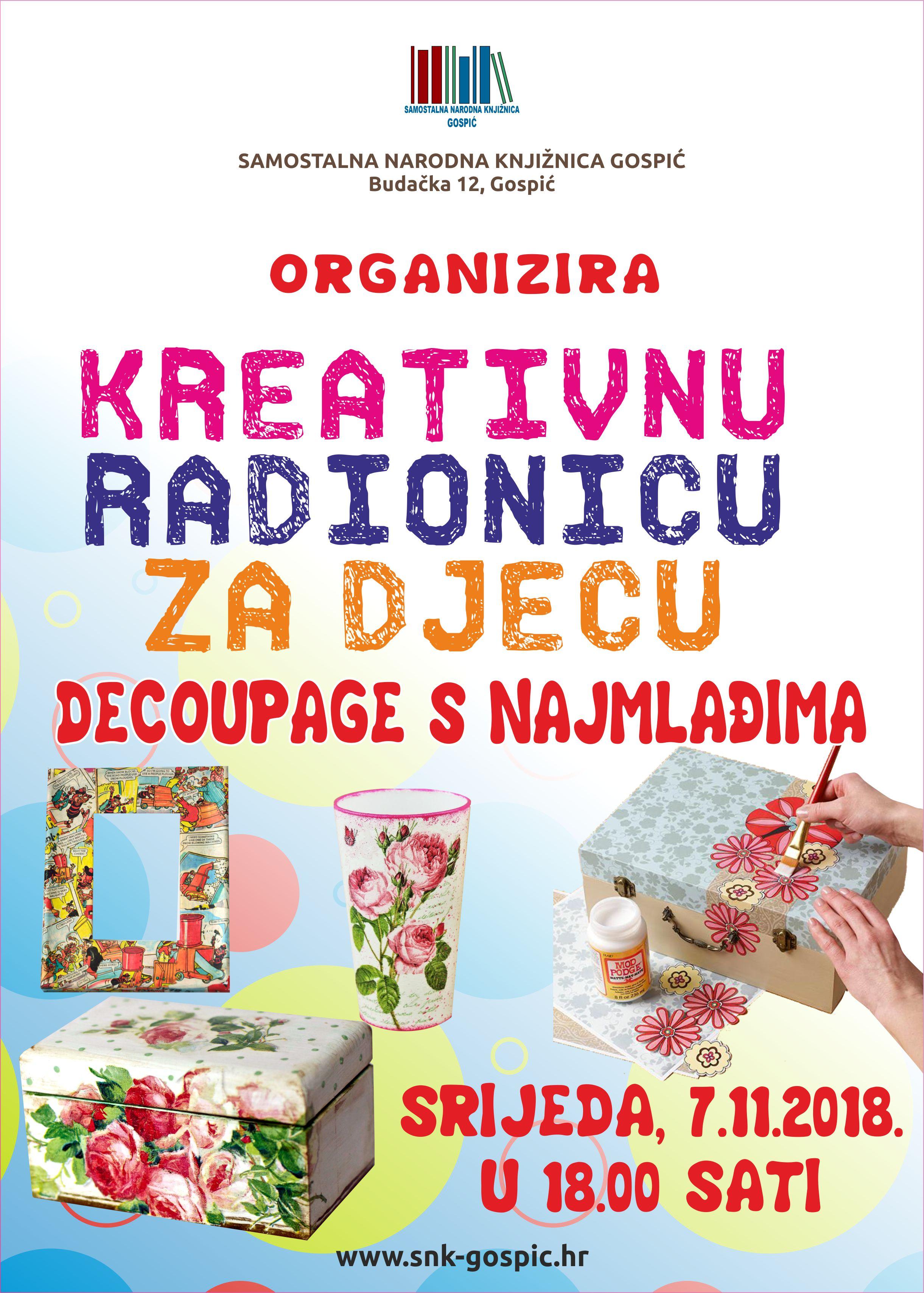 """Kreativna radionica za djecu """" Decoupage s najmlađima """""""