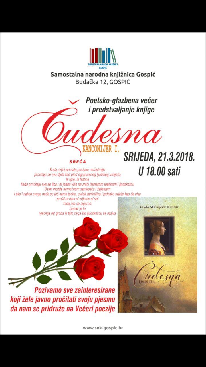 Poetsko-glazbena večer i predstavljanje knjige 21.03.2018. u 18:00 sati