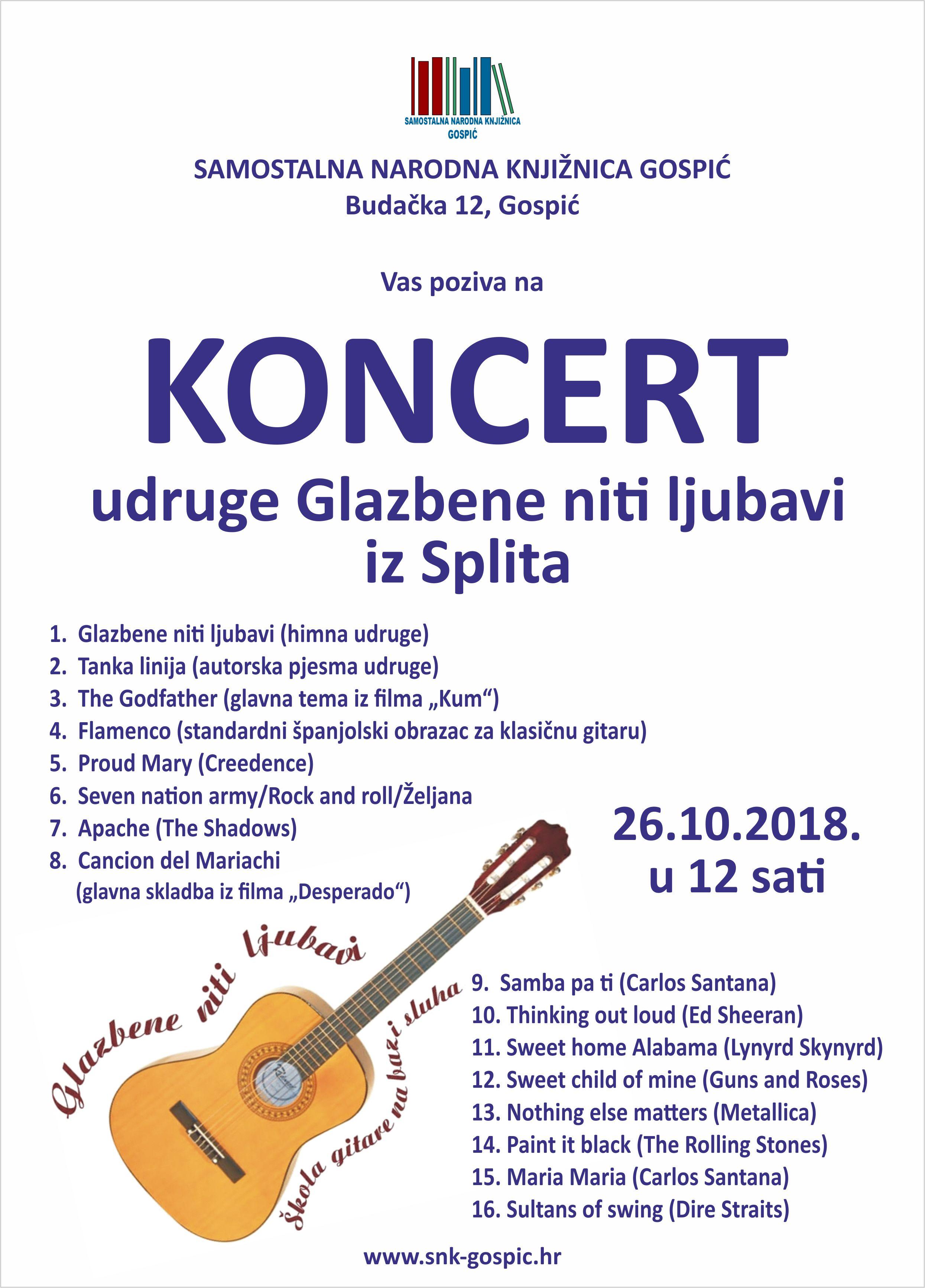 KONCERT udruge Glazbene niti ljubavi iz Splita