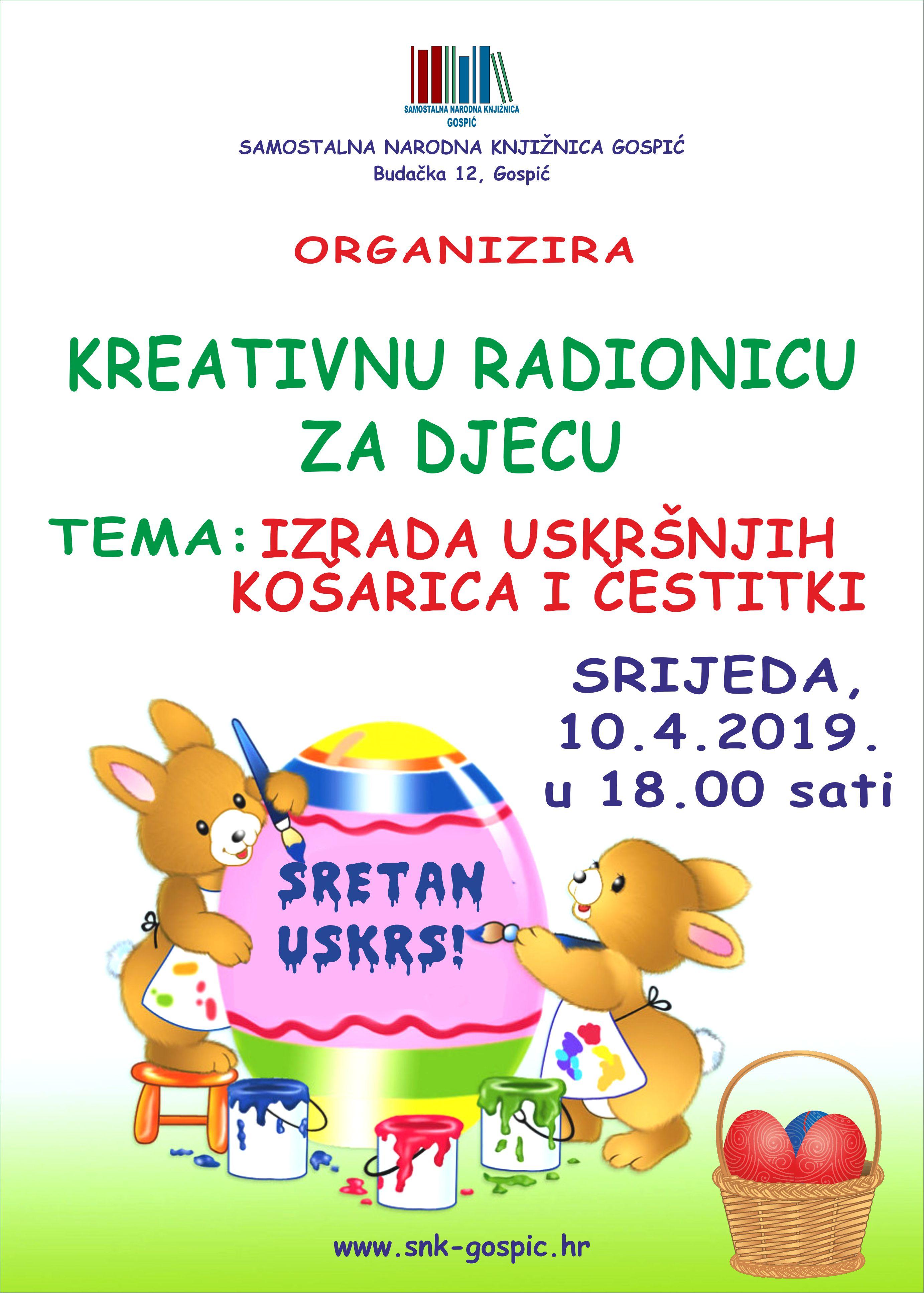 KREATIVNA RADIONICA ZA DJECU – 10.04.2019.