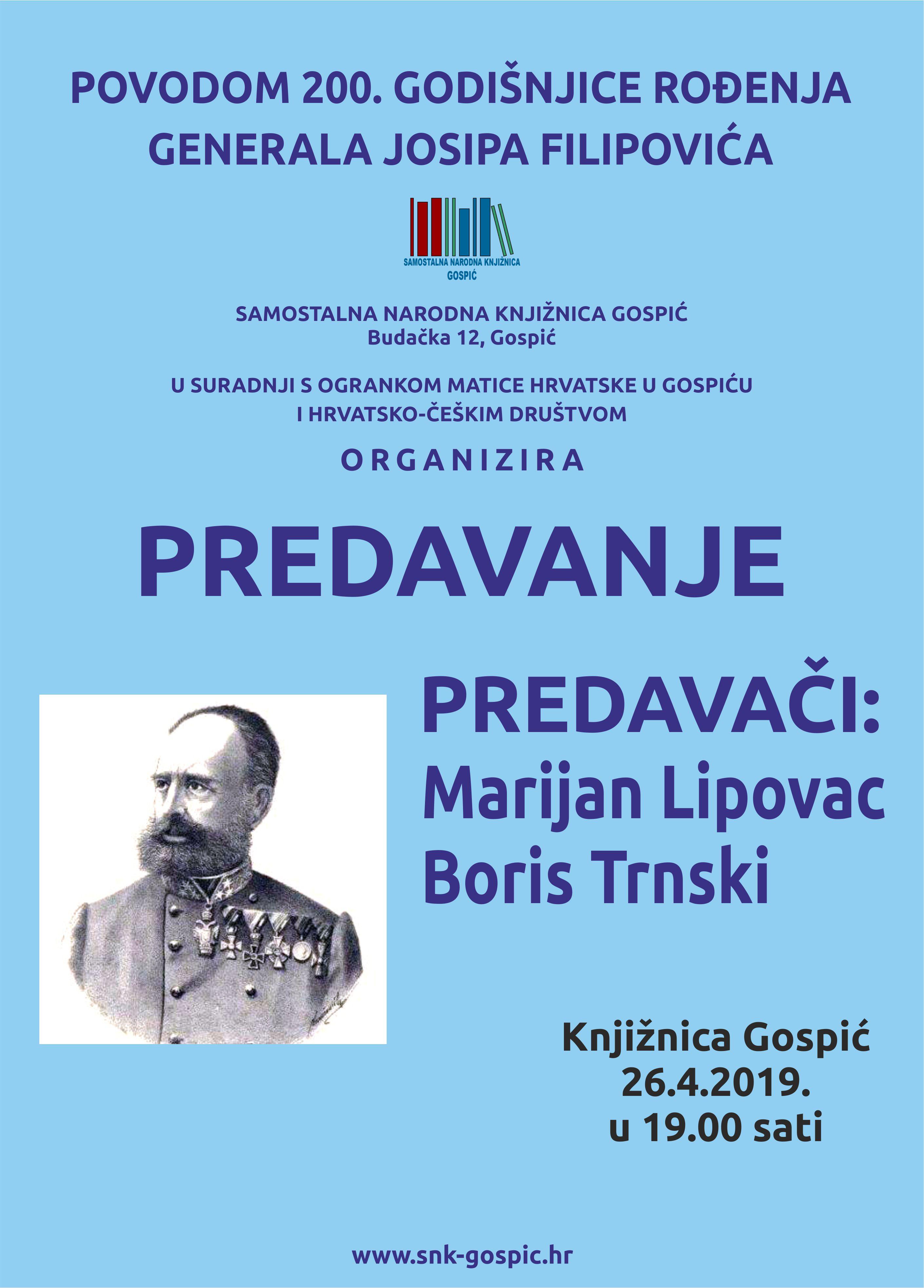 Predavanje – Povodom 200. godišnjice generala Josipa Filipovića